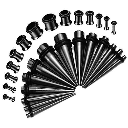 BodyJ4You 28PC Gauges Kit Ear Stretching 12G-0G Black Steel Tunnel Plugs Tapers Piecing - Ear Gauges Steel