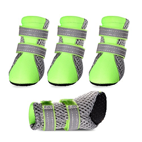Petsee Dog Shoes Pet Boots with Non-slip Soft Sole, Mesh and Reflective Velcro for Small Dogs (XL(2.32'' x 1.89''), Green)