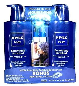 Nivea Body Essentially Enriched Daily Lotion Set 16.9 fl oz X 2 Plus Nivea Lip Care Set 0.17 oz X 2