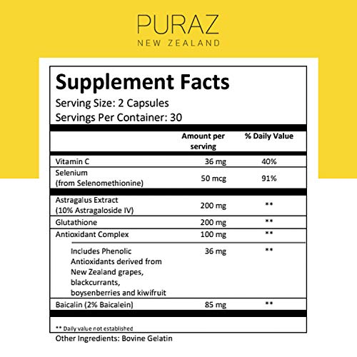 51csQ41fgJL - Puraz Telomere Supplements with Potent Astragalus Root Extract for Superior Immune System Support, Anti-Aging and DNA Repair - Pure Telomerase Enzyme for Telomere Lengthening and Support - 60 Capsules