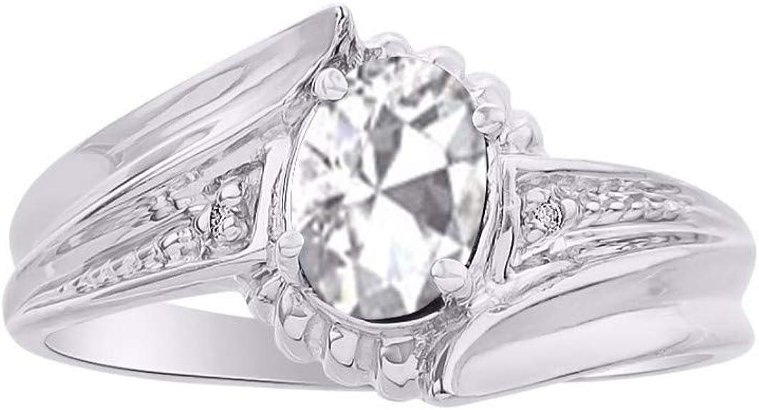 April Birthstone RYLOS Simply Elegant Beautiful White Topaz /& Diamond Ring