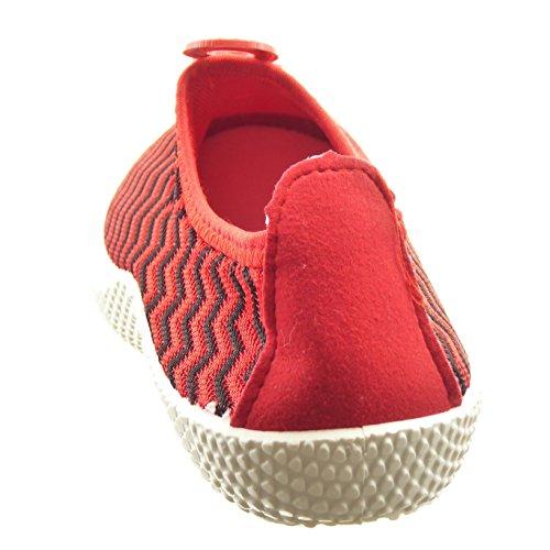 Sopily - Scarpe da Moda Sneaker bi-materiale alla caviglia donna lines Tacco a blocco 2.5 CM - Rosso