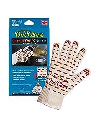 Ove Glove Right Hand Anti Steam Glove with Red Non-Slip Silicone Grip, Yellow/White