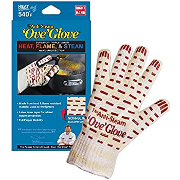 Ove Glove GIF Anti-Steam, Hot Surface Handler Oven Mitt Glove, Right Hand, Perfect for Kitchen/Grilling, 540 Degree Resistance, As Seen On TV Household Gift, Heat, Flame & Steam