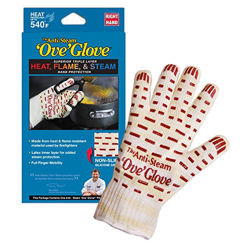- Ove Glove GIF Anti-Steam, Hot Surface Handler Oven Mitt Glove, Right Hand, Perfect for Kitchen/Grilling, 540 Degree Resistance, As Seen On TV Household Gift, Heat, Flame & Steam