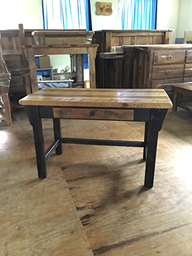 Barnwood Writing Desk - Available in 2 Options - Amish Made in The USA (Natural Lacquer with Antique Black Stain)