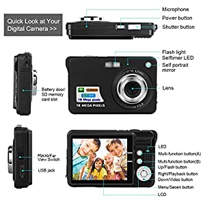 Mini Digital Camera HD Compact Camera 2.7 Inch TFT LCD Screen 18MP 8x Optical Zoom Anti Shake 1280x720P Christmas Year Gift for Kids Children Students Teenager from BUDPAW