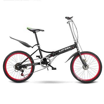 LETFF Bicicleta Plegable para Adultos De 20 Pulgadas, Cambio De 6 Velocidades, Maletas De