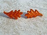 Fall Leaves Earrings /Autumn Oak Leaf Stud Earrings / Orange / Brown / Mismatch