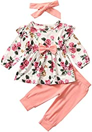 i-Auto Time Newborn Infant Baby Girl Clothes Bow Floral Ruffle Long Sleeve Top+ Pants+Headband Outfits Clothin