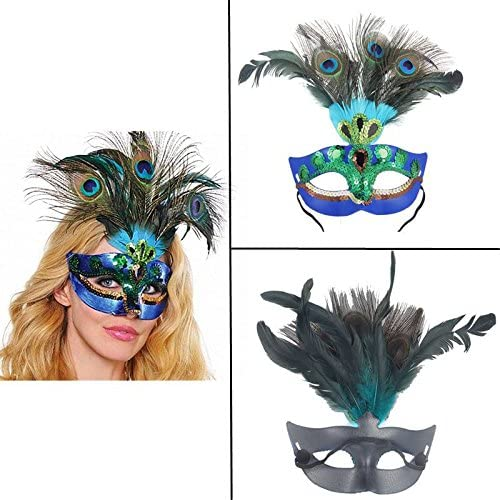 AOLVO - Máscara Veneciana de Lujo para Disfraz de Pavo Real ...