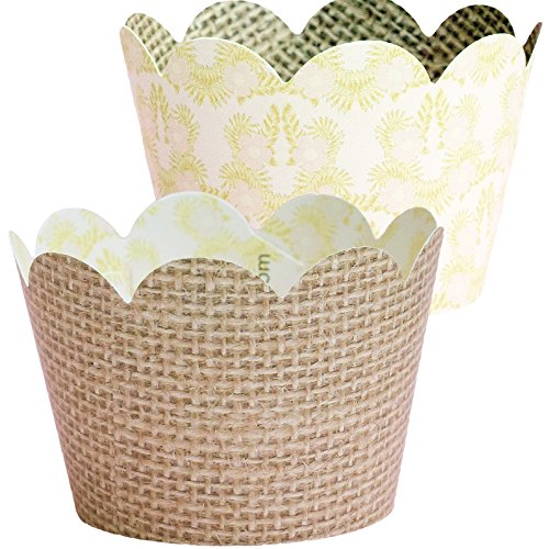 Burlap Cupcake Wrappers, 36 Rustic Baby Shower Decorations, Hessian Party Supplies, Adjustable, Reversible Paper Favor Holder, Jute Thanksgiving Cup Cake Liner, Natural Woodland Christmas Theme