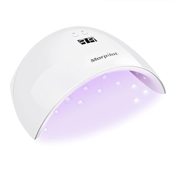 24W Secador de Uñas, Morpilot lámpara para uñas LED UV gel y uñas Polaco + Pantalla LCD + Sensor automático + 30s y 60s Temporizador: Amazon.es: Belleza