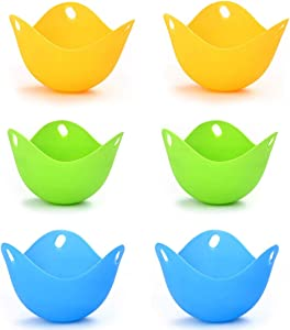 6pcs Silicone Egg Poacher,Mini Silicone Egg Poaching Cups Egg Cooker,Egg Poacher Pan, Stovetop Safe For Family.