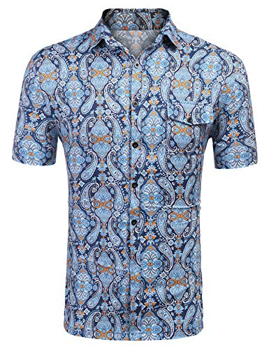 IDO Men's Hawaiian Short Sleeve Shirt Paisley Floral Printed Casual Button Down Shirt