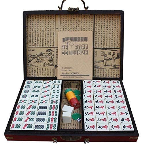 XIAOD Mahjong, Chinese Mahjong Set Deluxe Chinese Mahjong Portable Tile Game Set Checkerboard Party with Antique Storage Box 144pcs