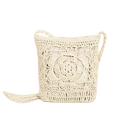 Andear Casual Cute Straw Woven Purse Bag Crochet Summer Beach Vacation Shoulder Crossbody Bag For Girls 2-Beige