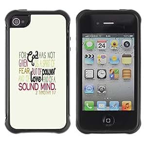 Híbridos estuche rígido plástico de protección con soporte para el Apple iPhone 4 / 4S - motivation hand drawn text beige