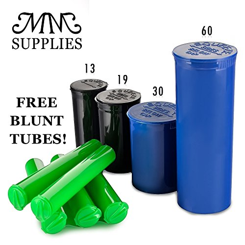 Pop Top Containers Full Cases (13,19,30,60) 60 Dram -Case of 75 (Blue) Best Medical Marijuana Container 14 Grams. Squeezetops, Pop top bottles,Medical Marijuana Supplies, FREE TUBES MM SUPPLIES by MM SUPPLIES