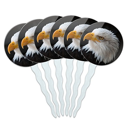 GRAPHICS & MORE Stoic Bald Eagle Cupcake Picks Toppers Decoration Set of - Portrait Eagle Bald