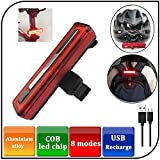 Yosky Ultra Bright Bike Light USB Rechargeable Bicycle Tail Light - 8 Modes High Intensity Rear LED Accessories Fits On Any Road Bikes & Helmet, Easy To Install for Cycling Safety Flashlight