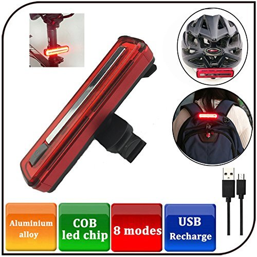 Yosky Ultra Bright Bike Light USB Rechargeable Bicycle Tail Light - 8 Modes High Intensity Rear LED Accessories Fits On Any Road Bikes & Helmet, Easy To Install for Cycling Safety Flashlight by Yosky