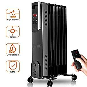 Electric Oil Heater – 1500W Oil Filled Radiator Heater with Smart Thermostat, 250 Sq Ft Coverage, Safety Protection, LED Digital Display, Space Heater Perfect for Large Room Heater Portable Indoor