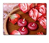 Luxlady Placemat Spa concept with roses pink salt and candles that float in a wooden bowl IMAGE 35405750 Customized Art Home Kitchen