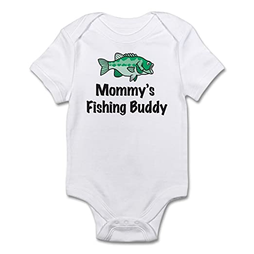 4aab16aa205 CafePress Mommy s Fishing Buddy Infant Bodysuit Cute Infant Bodysuit Baby  Romper Cloud White