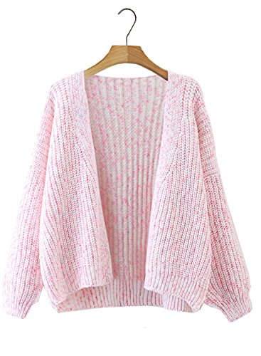 Futurino Women's Chunky Knitted Batwing Sleeve Open Front Short Cardigan Sweater