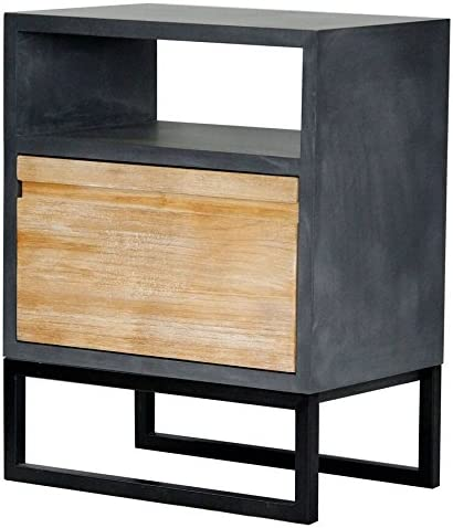 Heather Ann Creations The Nova Collection Modern Style Wooden Single Drawer Living Room End Table, Grey and White Wash