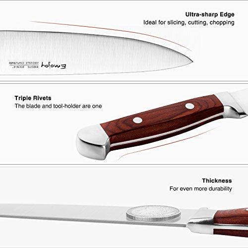 Emojoy Knife set, Kitchen Knife Set, Wooden Block 6 Pieces Knife Set with Block, German Stainless Steel (1) by Emojoy (Image #1)