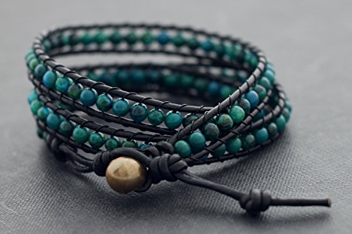 Boho Bracelets Beaded Wrap Stone Chrysocolla Black Leather Men Unisex Gift Amazon Forest Hipster Cool Bohemian - Forest Black Leather