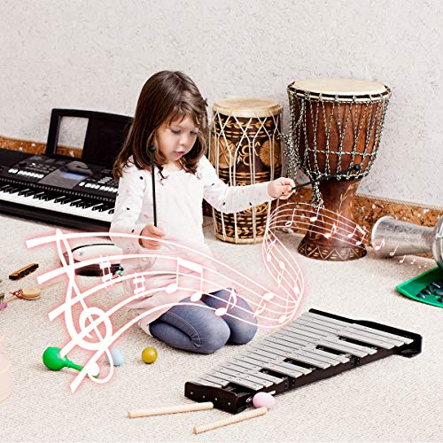 """Giantex Percussion Glockenspiel Bell Kit 30 Notes, with Electroplated Adjustable Height Frame, Music Stand, an 8"""" Practice Pad, and a Pair of Bell Mallets & Wooden Drumsticks, Carrying Bag"""