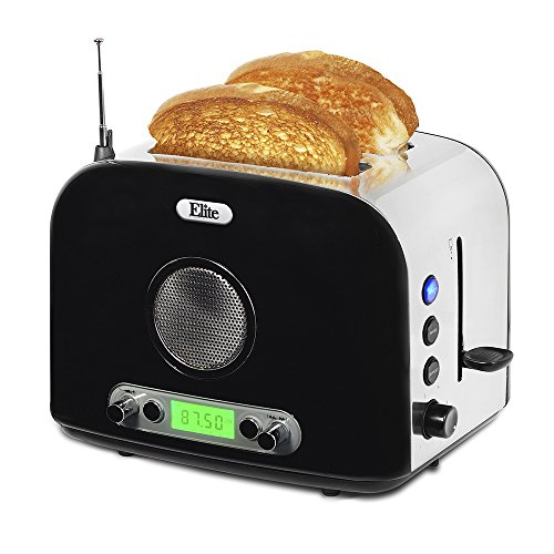 Elite Platinum ERT-6067 Maxi-Matic 2-Slice Multi-Function Radio Toaster, Silver (Stainless Steel)