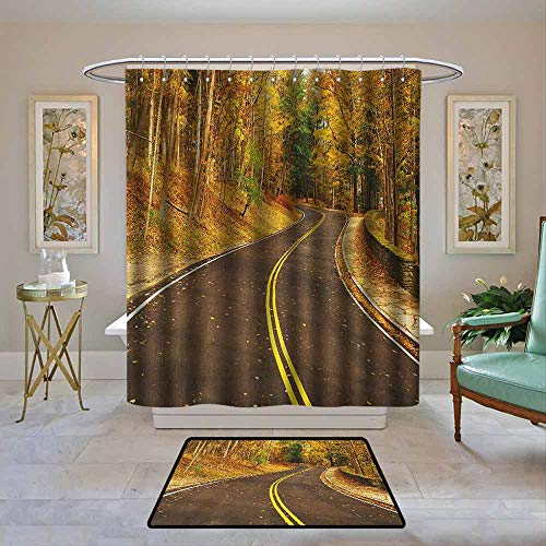 Kenneth Camilla01 Fabric Shower Curtain Waterproof Fall,Autumn Scene with Curvy Road in The Forest at Letchworth State Park New York City USA, Multicolor,Custom Bathroom Curtain Sets 55