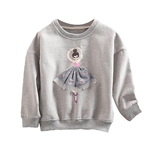 Toddler Baby Girl Sweatshirt Ballet Dancer Cotton Pullover Sweater grey - Ballet Jumper