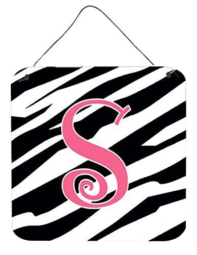 Caroline's Treasures Letter S Initial Zebra Stripe and Pink Wall or Door Hanging Prints, 6 x 6