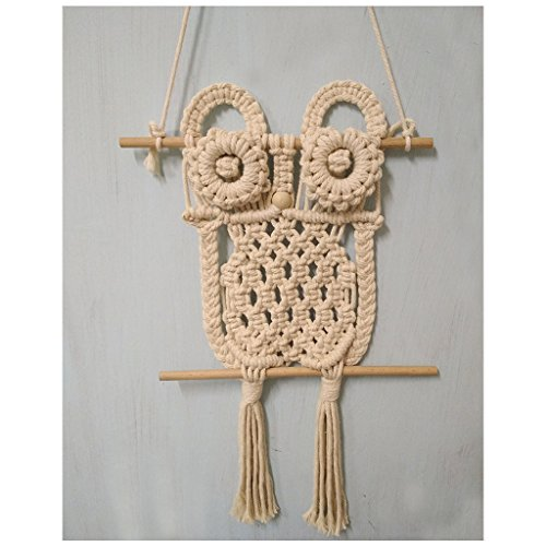 WHYQZ Handmade Knitting Cotton Rope Owl Art Wall Hanging Children's Room Tapestry Living Room Decoration (1 pcs/set) ()