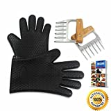 #8: Meat Claws - BBQ Pulled Pork Shredder for Shredding and Lifting, Strongest Wooden Handle Stainless Steel Tool Forks + Premium Black Heat Resistant Cooking Gloves BPA Free + Ebook (5pc Set)