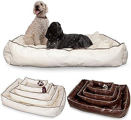 Smoothy Perros cesta de piel; cesta de perros; cama para perros para Luxus mascota.; Beige de color blanco tamaño xxl (145 x 100 cm)