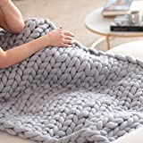 Arm Knit Blanket Chunky Knitted Throw Arm Knitting Giant 100% Merino Wool Extreme Knit Blanket Huge Oversized Large Throw Christmas Gift Idea 79''x79''