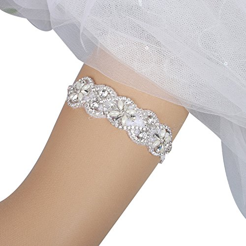 5a7b845f1dd KENTONG HILL Handmade Stretched Lace Crystal Applique Wedding Garter Belt  Set Bridal Leg Garter by KENTONG