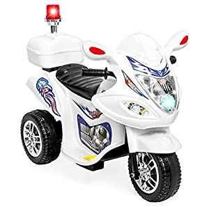 Best Choice Products 6V Kids Electric Ride On Police Motorcycle w/ 3 Wheels, Lights, Music, Storage Compartment - White