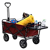 Sturdy Red Folding Wagon with Table Holds up to 150 lbs. Great for Camping, Shopping, Yard Work and Beach Trips