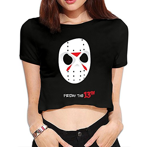 Women's Friday The 13th Jason Voorhees Mask Crop Top T Shirt Black (Jason Voorhees Clothes)