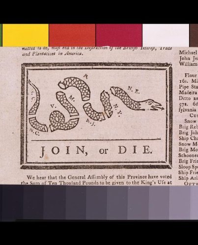 Infinite Photographs Foto: Advertencia de Benjamin Franklin, colonias británicas, unirse o morir.