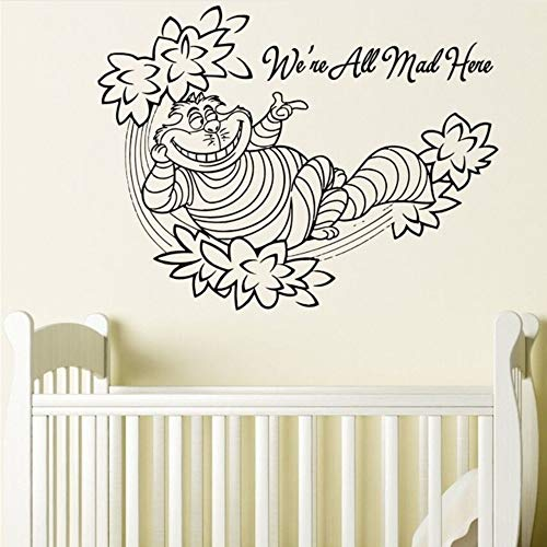 Meaosy Cheshire Cat Wall Decal Quote Alice in Wonderland Wall Sticker Removable Kids Bedroom Wallpaper Cartoon Wall Mural Poster for $<!--$24.16-->
