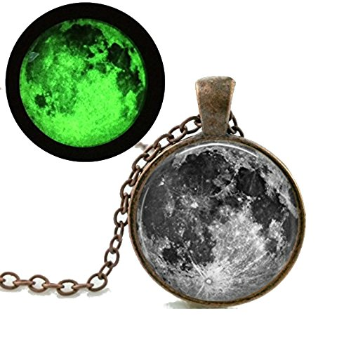Dan s Collectibles and More Lunar Moon Eclipse Necklace Glow In The Dark Luminescent Pendant Ghost Spirit Astrology Space Science Witchcraft Goth Emo w/Gift Box by (Bronze Moon)