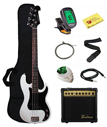 Stedman Beginner Series Bass Guitar Bundle with 15-Watt Amp, Gig Bag, Instrument Cable, Strap, Strings, Picks, and Polishing Cloth - White